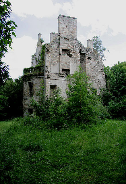 The ruined remains of Cavers House