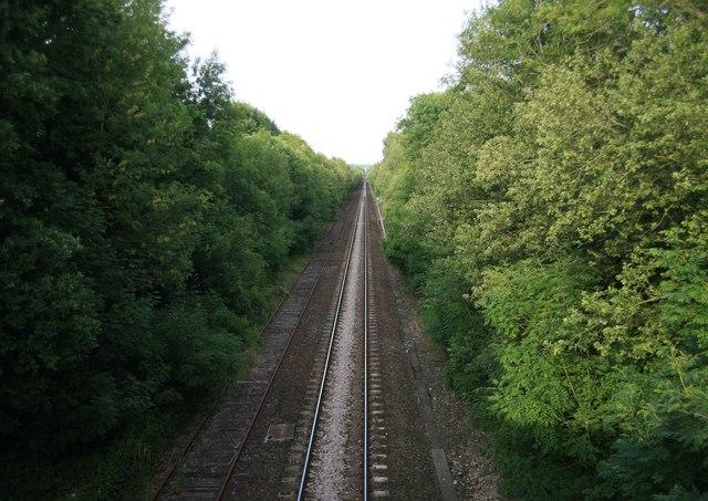LSWR Waterloo - Exeter railway Dinton looking east towards Wilton.