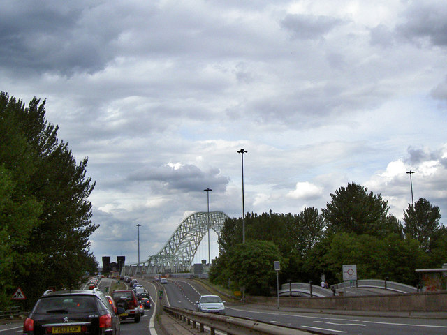 The southern approach to the Runcorn Bridge