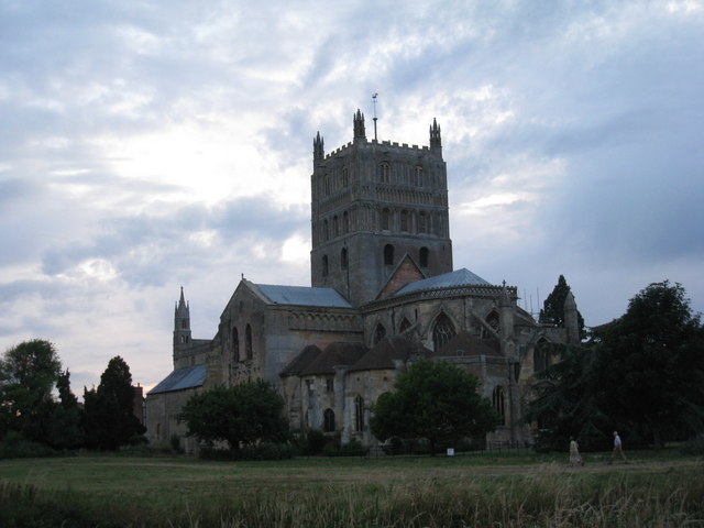 Evening view of Tewkesbury Abbey