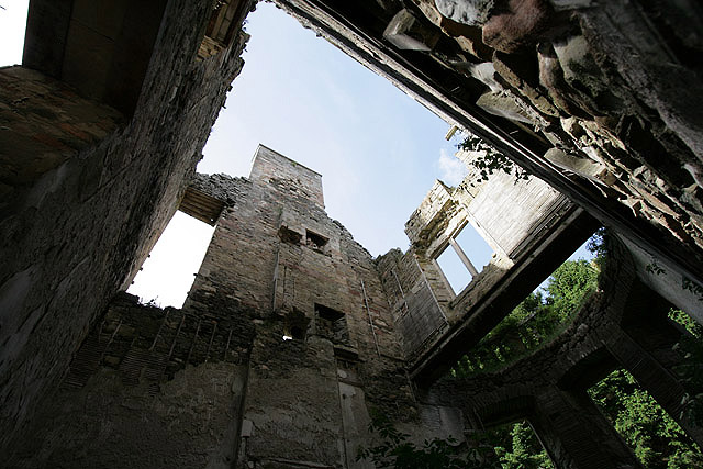 Inside the ruined remains of Cavers House