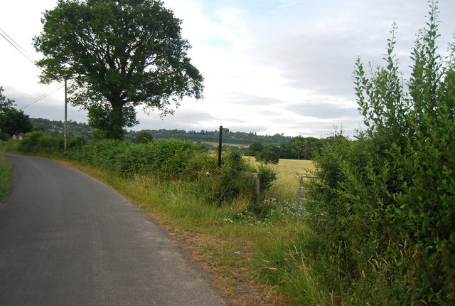 Footpath off the lane south of Bowzell Farm