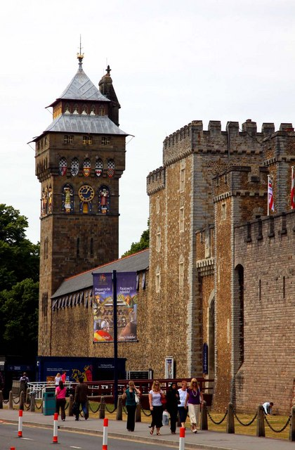 Cardiff Castle clock tower and entrance