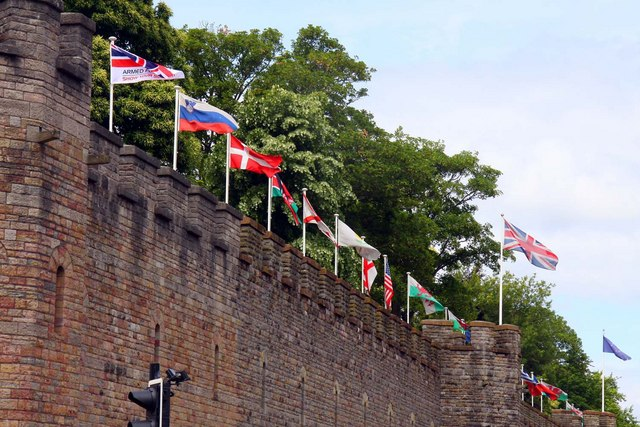 Flags on Cardiff Castle