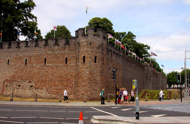 The corner of Cardiff Castle