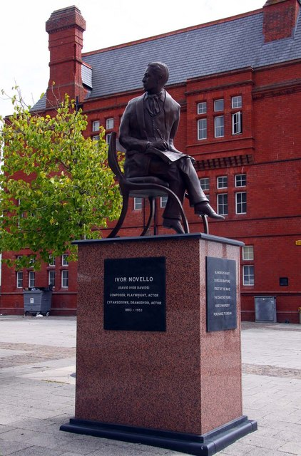 The Ivor Novello statue by the Wales Millennium Centre