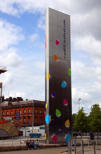 The water tower outside the Wales Millennium Centre