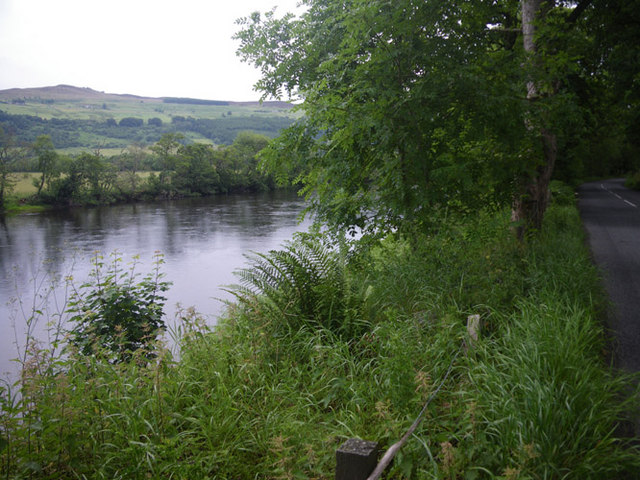 Looking downstream at a tranquil reach of the River Tay