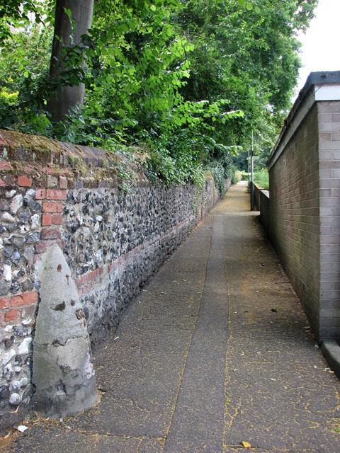 Footpath past St Etheldreda's church, Norwich