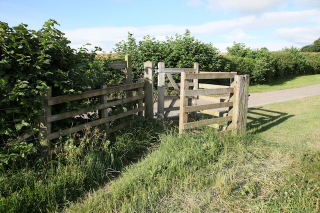Gate leading from footpath onto track