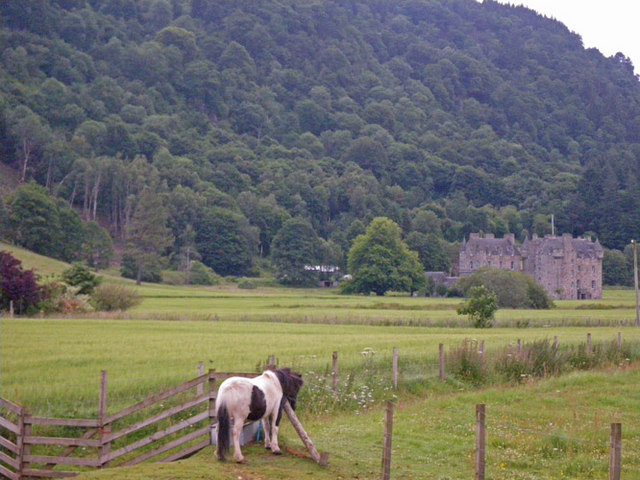 Equine view of Menzies Castle from the southwest