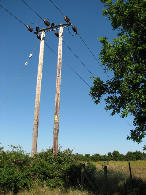Electricity pole beside the A47 road