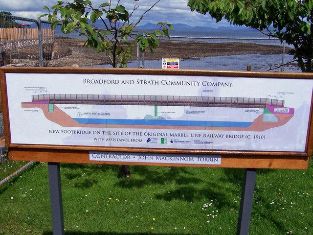 Broadford footbridge, information board