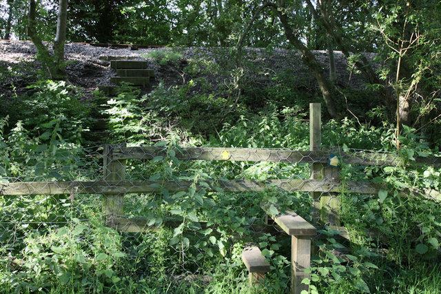 Stile and steps up the railway embankment