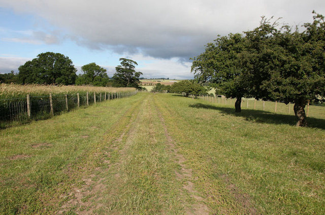 Footpath running west from Ruswick manor farm