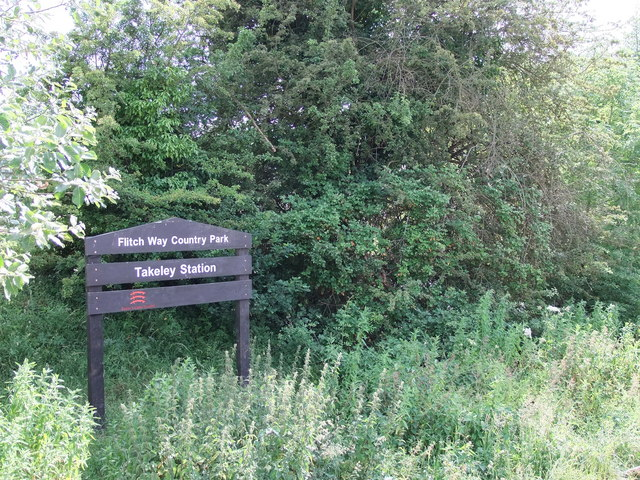 Sign: Flitch Way Country Park at Takeley Station