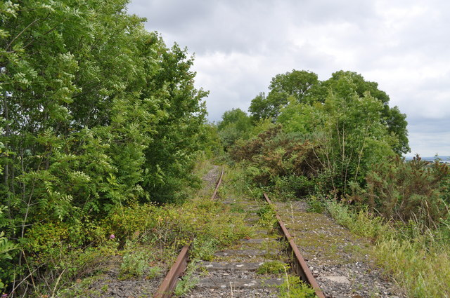 Tracks remaining from the former Wye Valley Railway approaching Snipehill bridge