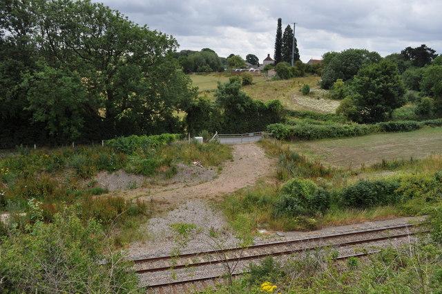 Looking across railway track and Sedbury Lane from former Wye Valley Railway line