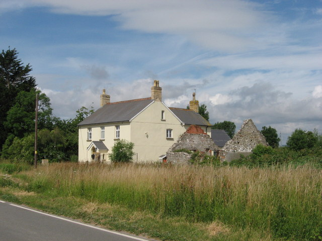 Cottage and derelict cottage, near Peterstone