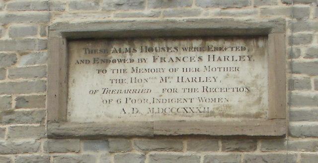 Stone plaque, Harley's Almshouses, Hay-on-Wye