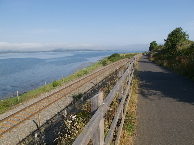 Cycle path and railway at the Exe Estuary