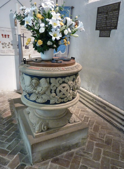 The font at St. Mary Magdalene's church, Davington