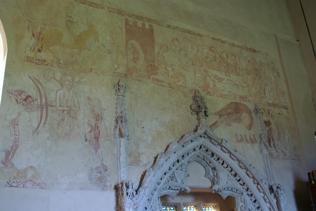 Wall paintings at St Mary's Church, Belchamp Walter
