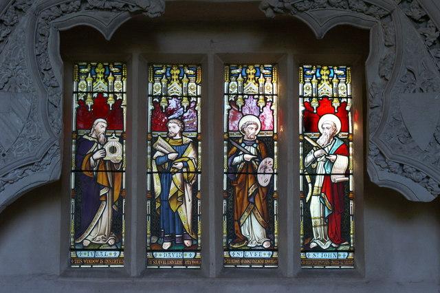 Memorial window in St Mary's Church, Belchamp Walter