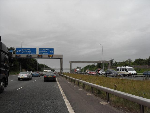M6 Near Broughton, Preston