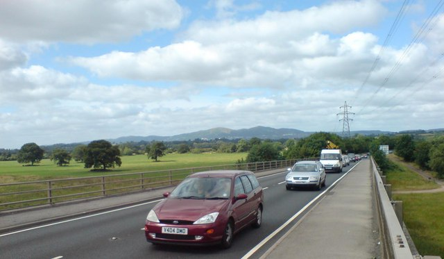 The Malverns seen from Carrington Bridge