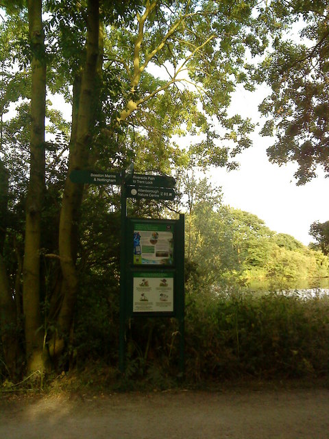 Signpost on the riverbank footpath