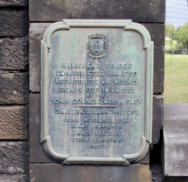 Plaque on Hawkhead Bridge