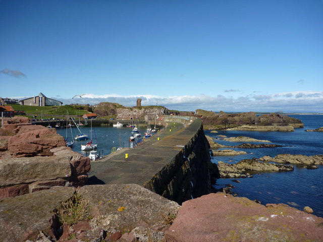 Looking Along The Massive Harbour Wall at Victoria Harbour, Dunbar
