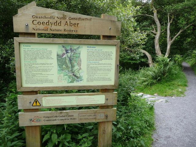 Information board in Coedydd Aber NNR, near Abergwyngregyn