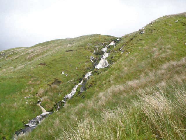 Unnamed burn rushing down the hillside to join the Allt Beochlich