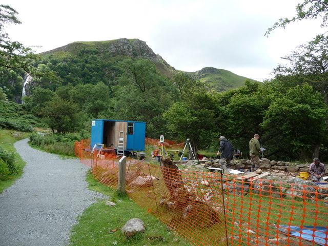 Archaeological excavation near Rhaeadr Fawr falls