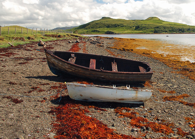 Boats on the shore of Loch Snizort Beag