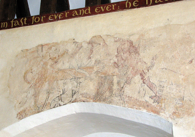 St Andrew's church in Eaton - C14 wall painting