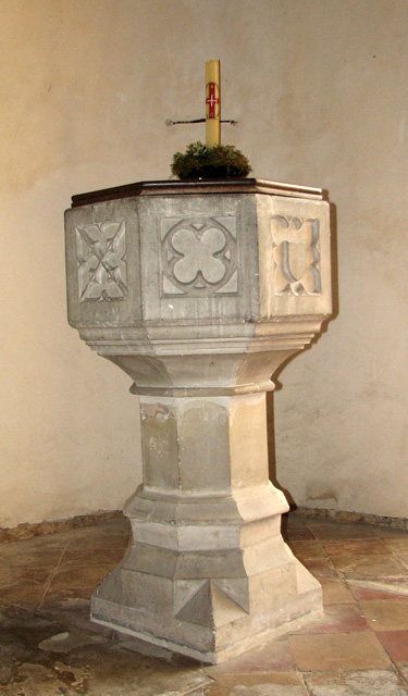 St Andrew's church in Eaton - baptismal font