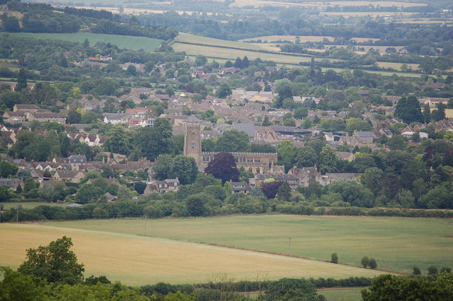 St Peter's church in Winchcombe from Belas Knap