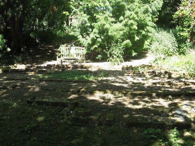 Memorial Seat amongst the ruins