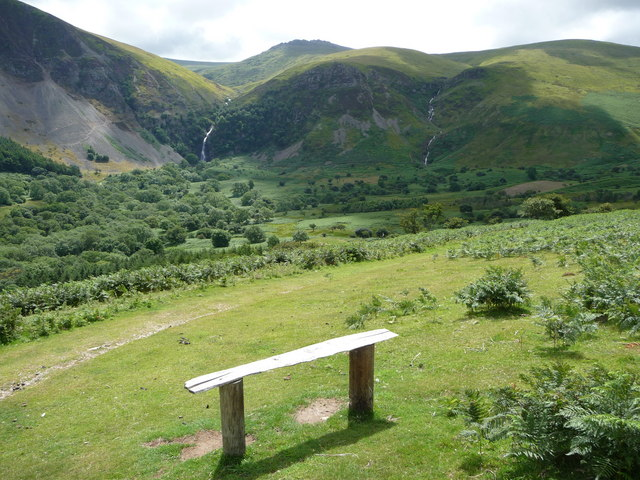 Bench in the Aber Falls valley