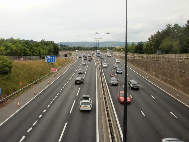 Westbound M4 motorway, Caerleon Road, Newport