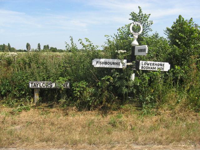 Road signs in Taylors Lane Bosham