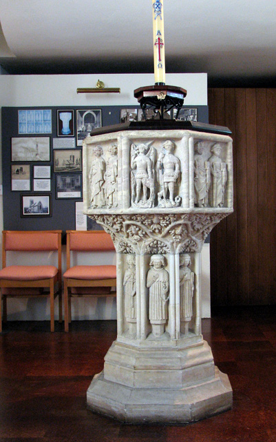 St Julian's church in Norwich - C14 baptismal font