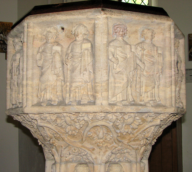 St Julian's church in Norwich - C14 baptismal font (detail)