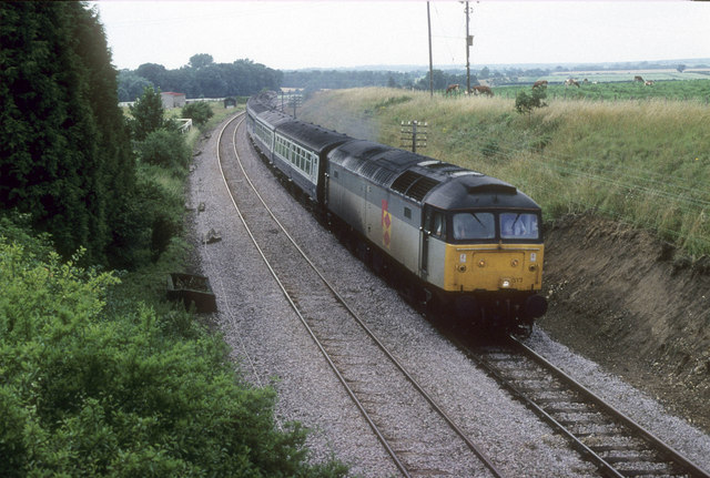 Yarmouth bound passenger train at Bryants Bridge