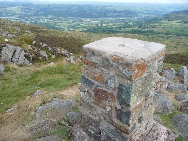 Recently restored trig pillar on Tal y Fan