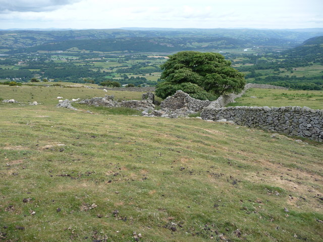 Ruined stone buildings above the Conwy Valley