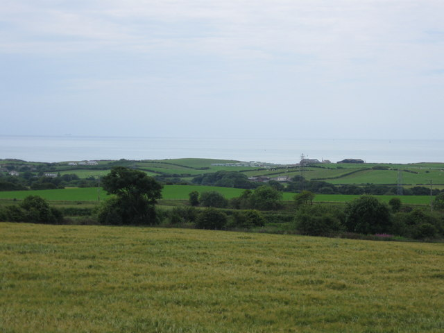 View to sea from A595